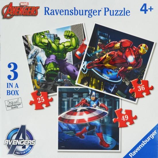 3 Puzzles de 25 à 49 pièces : Marvel : The Avengers - Ravensburger-07004