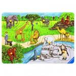 Encastrement 10 pièces en bois : Animaux au zoo