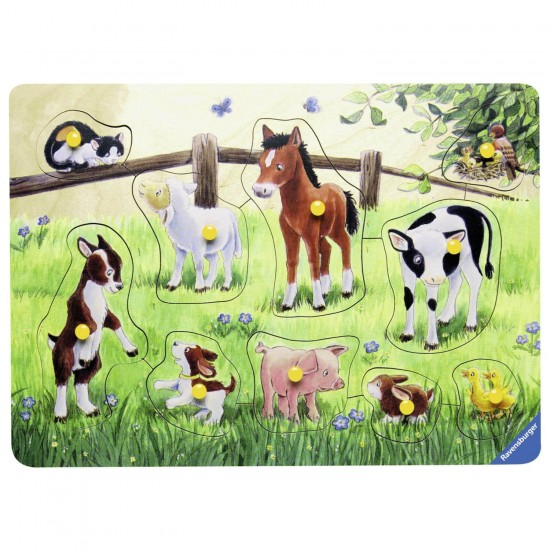 Encastrement 10 pièces en bois : Petits animaux familiers - Ravensburger-03671