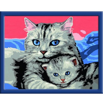 Peinture au numéro Numéro d'Art Classic : Chaton et sa maman - Ravensburger-28397