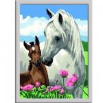 Peinture au numéro Numéro d'Art Classic : La jument grise et son poulain