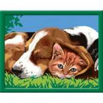 Peinture au numéro : Numéro d'Art Grand format : Comme chien et chat