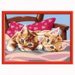 Peinture au numéro : Numéro d'Art Moyen Format Classique : Chats calins