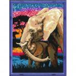 Peinture au numéro : Numéro d'Art Moyen Format Classique : La famille éléphant