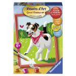 Peinture au Numéro : Numéro d'art Petit Format : Le chien et le papillon