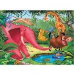 Puzzle 100 pièces XXL - Le Roi Lion : Tous à l'eau