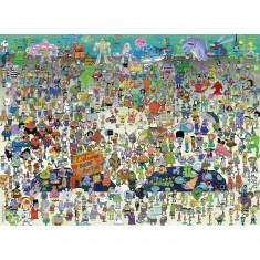 Puzzle 100 pièces XXL : Bob l'Eponge : Bienvenue à Bikini Bottom