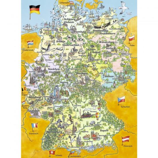 Puzzle 100 pièces XXL : Carte de l'Allemagne - Ravensburger-10519