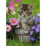 Puzzle 100 pièces XXL : Chaton dans fleurs