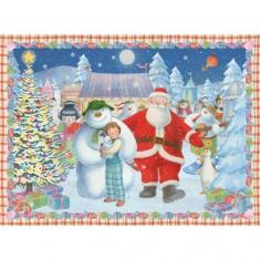 Puzzle 100 pièces XXL : Le bonhomme de neige et son chien
