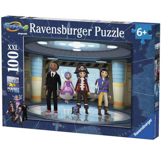 Puzzle 100 pièces XXL : Les Super 4 - Playmobil - Ravensburger-10572