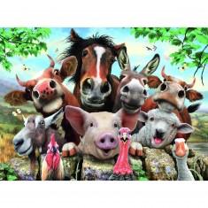 Puzzle 100 pièces XXL : Selfie des animaux de la ferme