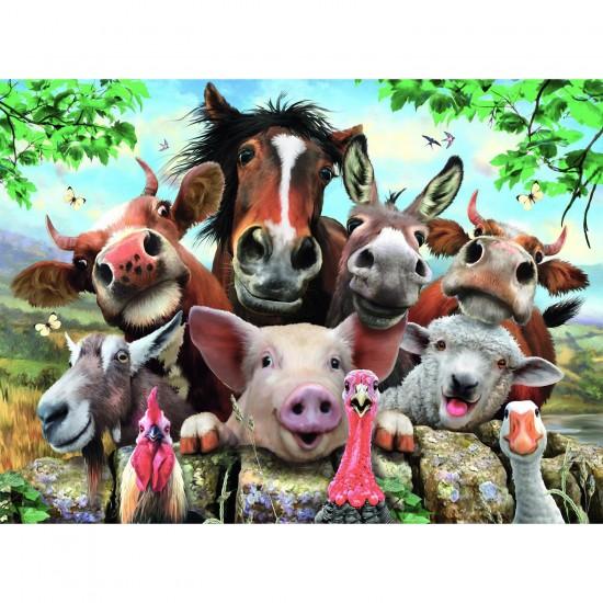 Puzzle 100 pièces XXL : Selfie des animaux de la ferme - Ravensburger-10769