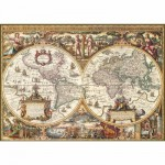 Puzzle 1000 pièces - Impression bois : Mappemonde antique