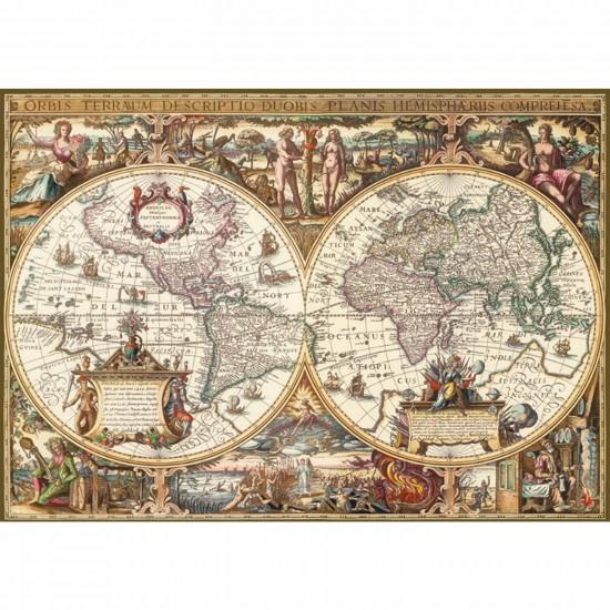 Puzzle 1000 pièces - Impression bois : Mappemonde antique - Ravensburger-19004