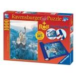 Puzzle 1000 pièces : Château de Neuschwanstein en hiver + Tapis de puzzle