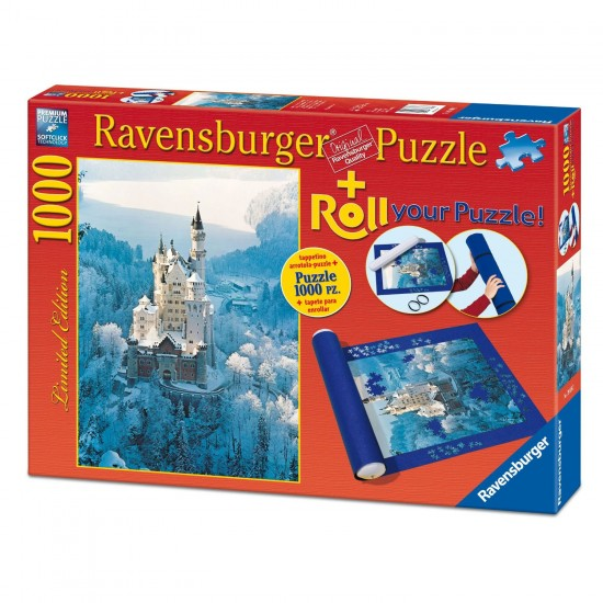 Puzzle 1000 pièces : Château de Neuschwanstein en hiver + Tapis de puzzle - Ravensburger-19908