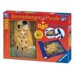 Puzzle 1000 pièces : Le Baiser, Klimt + Tapis de puzzle