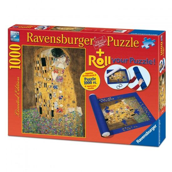 Puzzle 1000 pièces : Le Baiser, Klimt + Tapis de puzzle - Ravensburger-19910