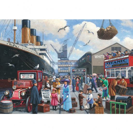 Puzzle 1000 pièces : Le départ du Titanic - Ravensburger-19419