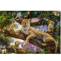 Puzzle 1000 pièces : Maman léopard et ses petits