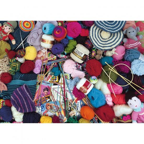 Puzzle 1000 pièces : Méli mélo de pelotes de laine - Ravensburger-19515