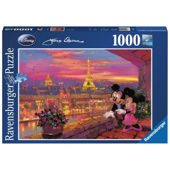 Puzzle 1000 pièces : Mickey et Minnie à Paris - Ravensburger-19327