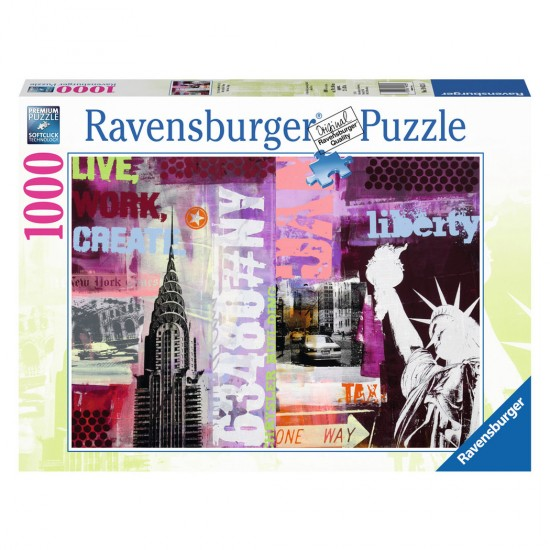 Puzzle 1000 pièces : New-York City Collage - Ravensburger-19613