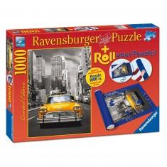 Puzzle 1000 pièces : Taxi New-York + Tapis de puzzle
