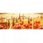 Puzzle 1000 pièces : Triptyque : Coquelicots en Toscane