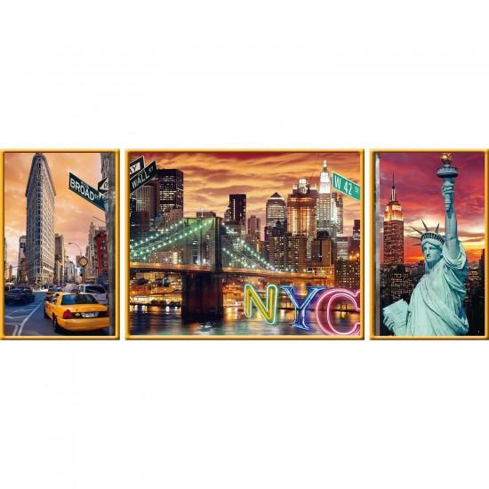 Puzzle 1000 pièces : Triptyque : New York en lumière - Ravensburger-19995
