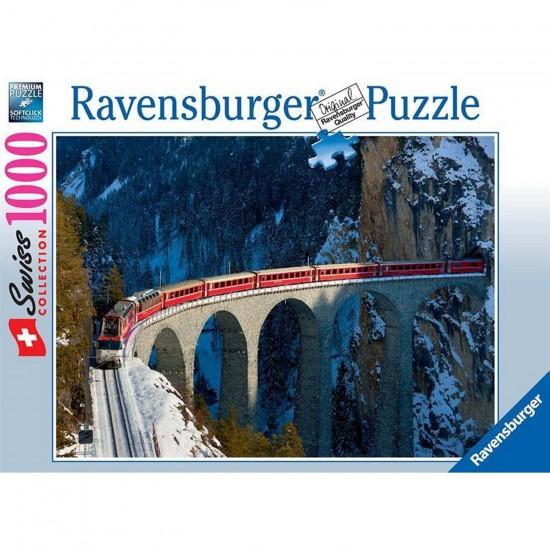 Puzzle 1000 pièces : Viaduc de Landwasser - Ravensburger-19352