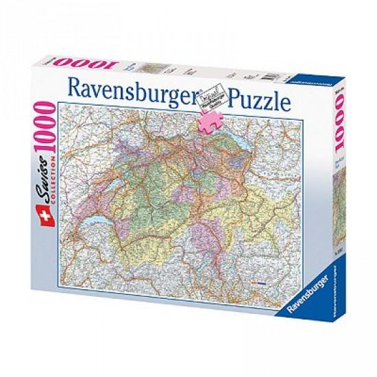 Puzzle 1000 pièces - Carte de la Suisse - Ravensburger-15367