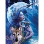 Puzzle 1000 pièces - Entre femme et loup