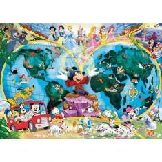 Puzzle 1000 pièces - Le monde magique de Disney en mappemonde