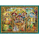Puzzle 1000 pièces - Le monde magique de Disney en médaillon