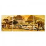 Puzzle 1000 pièces panoramique : Triptyque Voyage en Afrique