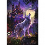 Puzzle 1200 pièces phosphorescent : Color Star Line : Loup au clair de lune