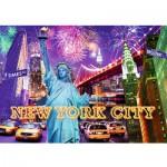Puzzle 1232 pièces phosphorescent : Color Star Line : Feux d'artifice à New York