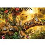 Puzzle 1232 pièces phosphorescent : Color Star Line : La famille léopard