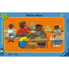 Puzzle cadre - 15 pièces : Petit Ours Brun au marché