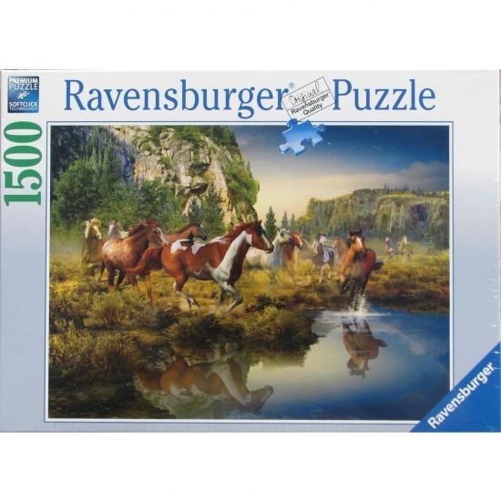 Puzzle 1500 pièces : Chevaux sauvages. - Ravensburger-16304