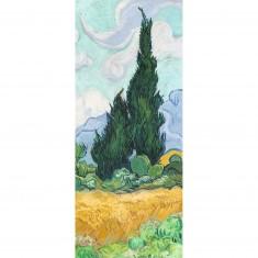 Puzzle 170 pièces panoramique : Champ de blé avec cyprès