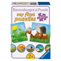 Puzzle 2 pièces : Coffret 9 puzzles : Animaux dans le jardin