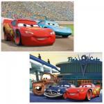 Puzzle 2 x 12 pièces : Cars : Flash McQueen et ses amis