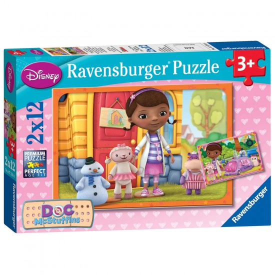 Puzzle 2 x 12 pièces : Docteur La Peluche - Ravensburger-07576