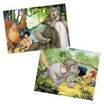 Puzzle 2 x 12 pièces : Le livre de la jungle : Amis de Mowgli