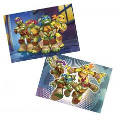 Puzzle 2 x 12 pièces : Les Tortues Ninja en action