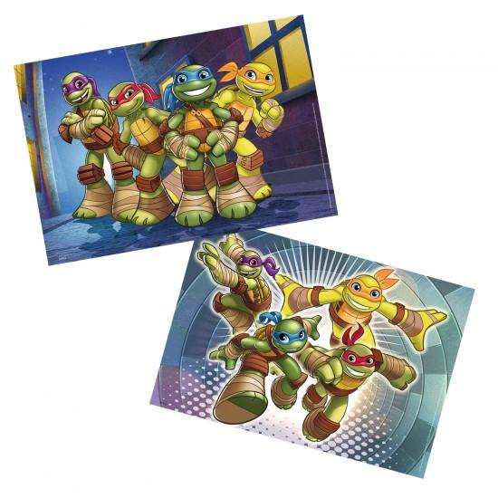 Puzzle 2 x 12 pièces : Les Tortues Ninja en action - Ravensburger-07597
