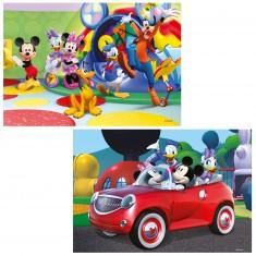 Puzzle 2 x 12 pièces : Mickey, Minnie et leurs amis